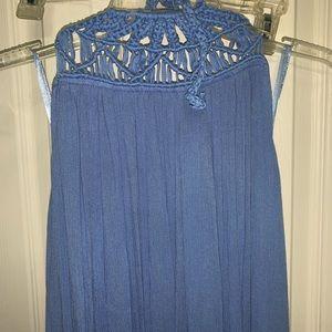 Sundress crochet neck backless maxi blue ombré